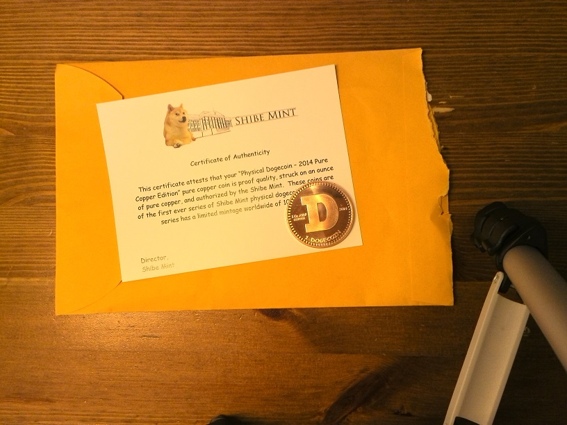 Physical Dogecoin – 2014 Pure Copper